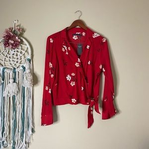 Abercrombie and Fitch Floral Wrap Top Red Size S